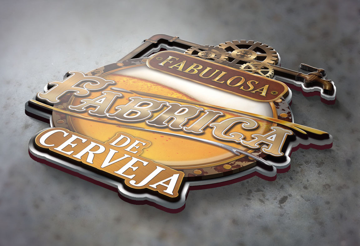 Criação Design e Ilustração 3D de Logotipo para Cervejaria Cerveja