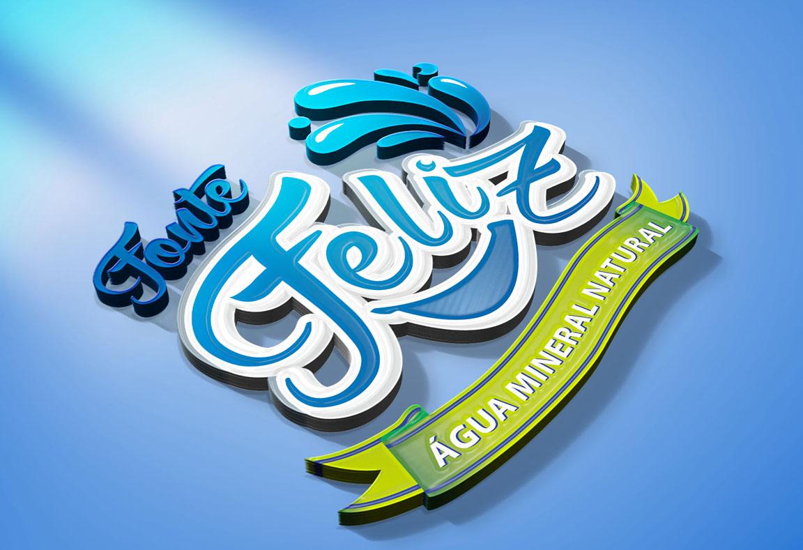 Logotipo, criação de logotipo, Água Mineral Natural Fonte Feliz