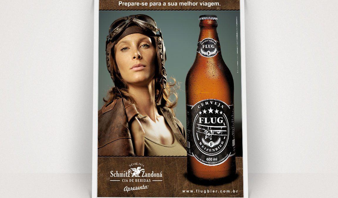 Cartaz Flug Weizenbier, Schmitz-Zandoná Cia de bebidas, marketing cervejeiro