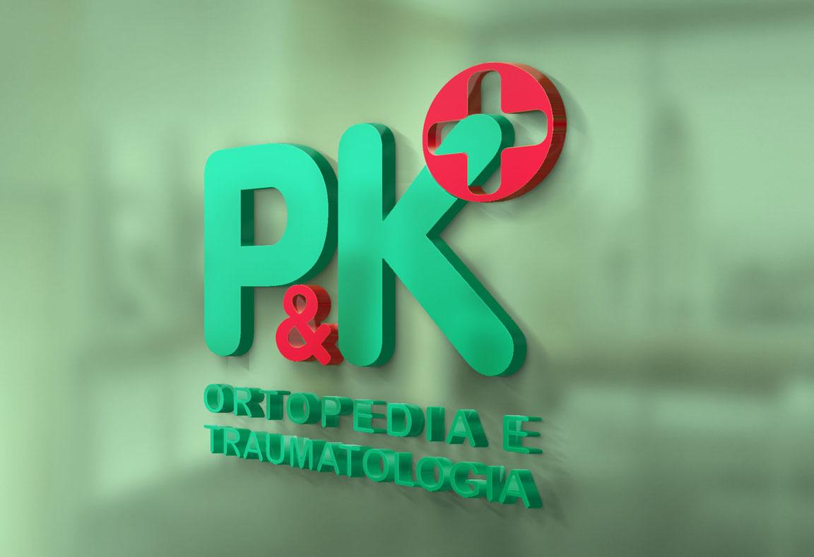 Logotipo, criação de logotipo, design de marcas P&K Ortopedia e Traumatologia