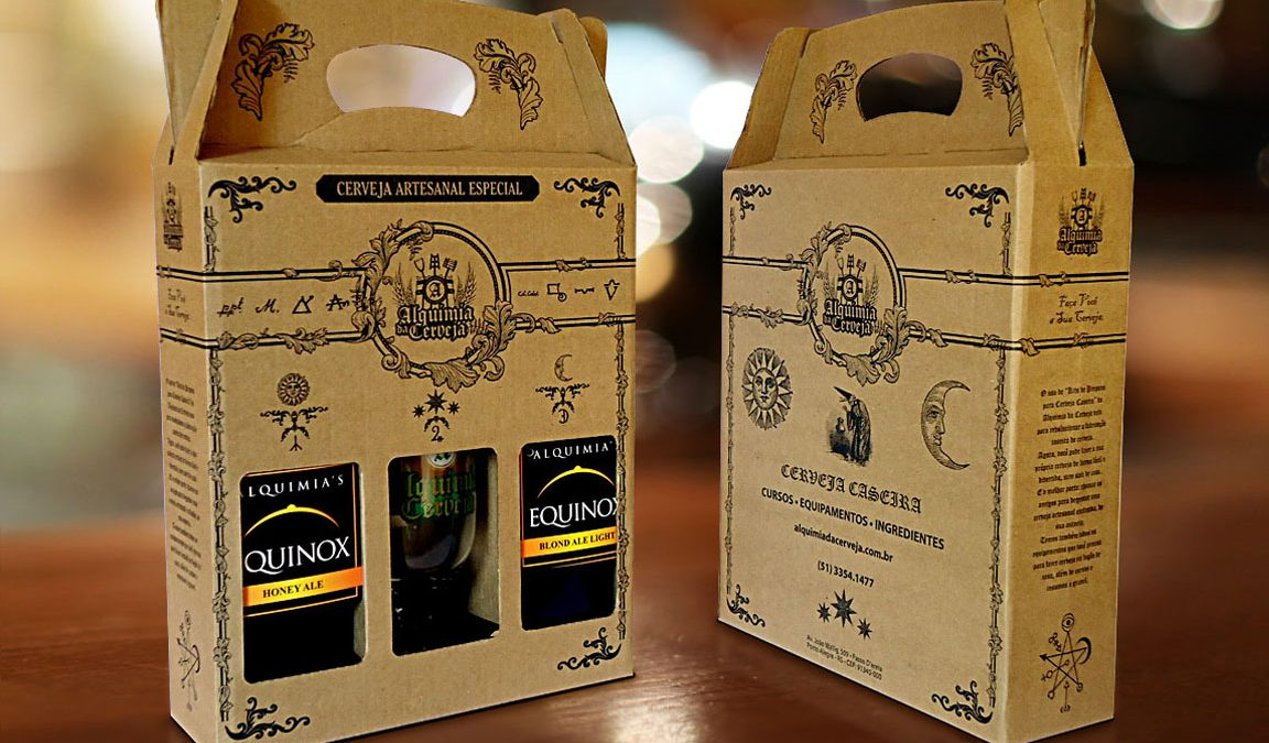 Embalagem maleta, caixa de papelão para 3 garrafas, alquimia da cerveja, packaging, design de embalagem