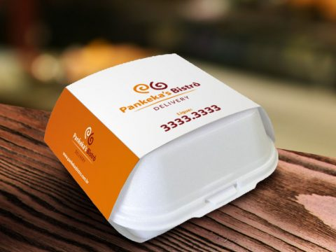 Embalagem térmica para delivery, caixa para entrega, embalagem de sopor com cinta em papel, Pankeka's Bistrô