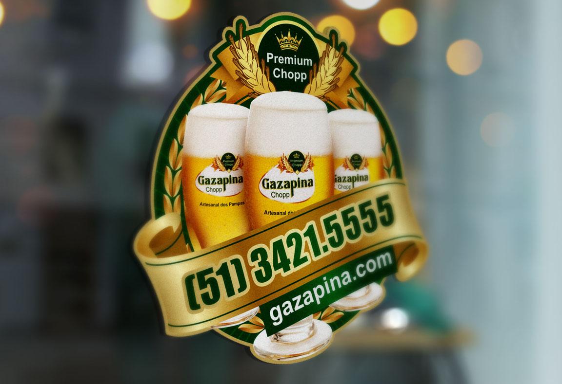 Selo Gazapina, selo para tele-entrega, ímã de geladeira